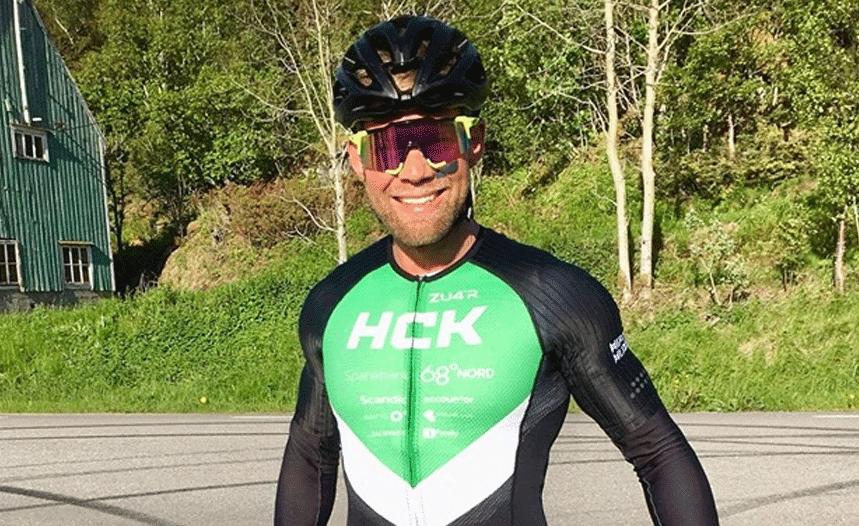 cyclist racing road bike