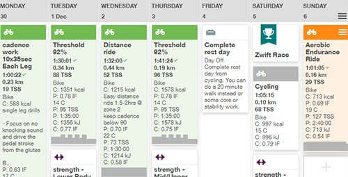 cycling training plan calendar
